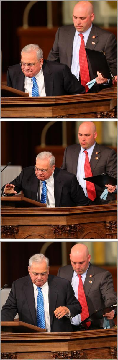 Mayor Thomas Menino rises from his wheelchair to speak after the Boston bombings. (Photo credit)