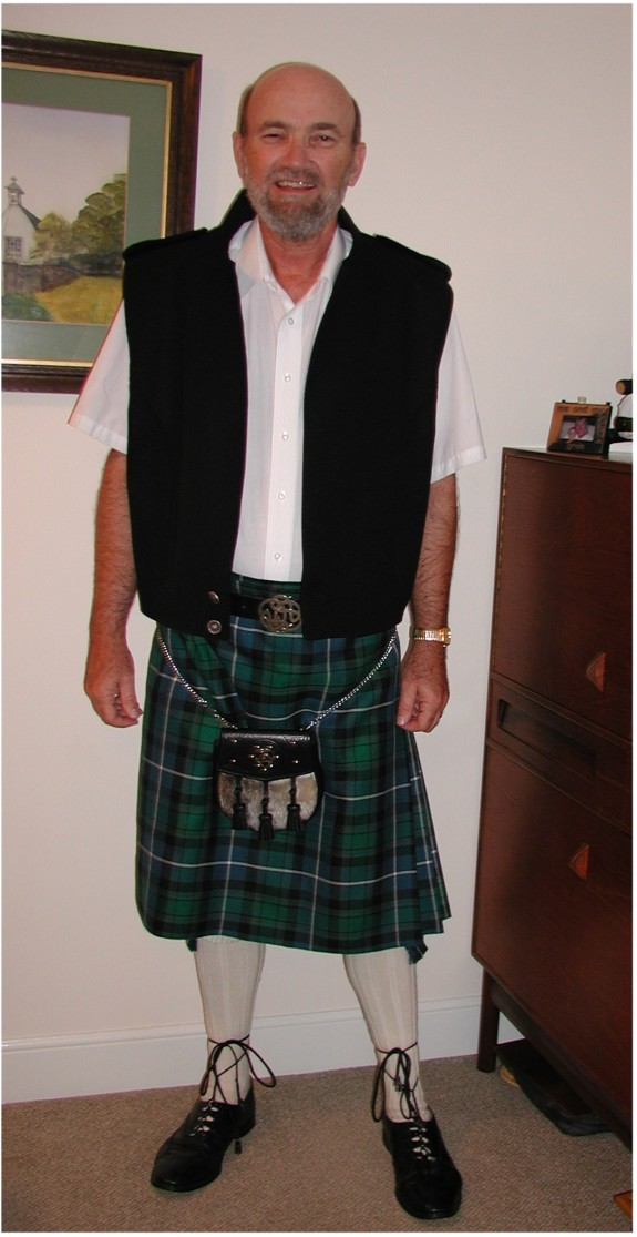 Yours truly in a kilt and related formal attire, Aberdeen, Scotland, 2004.