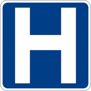 A hospital street sign image. How do you know it's the right one? (Image credit.)