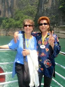 "Patty Gold with ""Chinese Elvis"" on the Yangtze River, 2011."