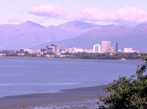 A view of Anchorage as we returned from the Kenai Peninsula.