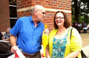 The author with Ruth Russell Nunn, his niece. What's up with that rubber chicken?