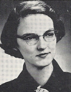 Mrs. Peggy Ferrell, from a scanned image of her photo in my 1962 high school yearbook.