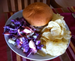 Pulled pork sandwich with slaw and chips. Genuine Montgomery County pulled pork.