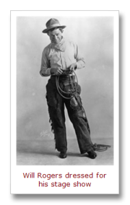 Will Rogers dressed for his stage show. (Source)