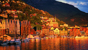 Colorful Bergen, Norway, the departure point for our fjord cruise.