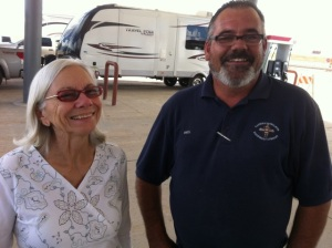 Ellen with proud contractor Paul Caillier at the new gas station at Clines Corners, New Mexico.