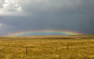 The low-arched rainbow north of Cloudcroft, New Mexico, unlike any we had previously seen.